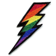 "RAINBOW LIGHTNING BOLT IRON ON PATCH 2.75"" Gay Lesbian LGBT Pride Flag Applique"