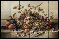24x16  Fruit Backsplash Mural Art Deco Tumbled Marble Tiles Kitchen Ideas