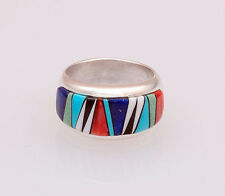 Calvin Begay Native American Multi-Stone Inlay Ring Size 8
