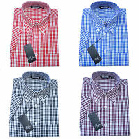 Relco Mens Gingham Check Short Sleeve Shirt 4 Colours Button Down Collar Mod Vtg