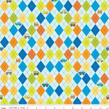 On the Go Blue Argyle by Bo Bunny for Riley Blake, 1/2 yard 100% cotton fabric