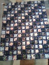 Extra Large Navy Blue Plaid Beer Rag Quilt
