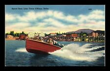 US LINEN POSTCARD SPEED BOAT ON LAKE COEUR D'ALENE IDAHO