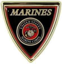 USMC Marine Corps Auto Emblem Chrome Plated Metal Shield United States