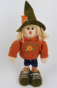 Fall Decor Thanksgiving 15 Inch Scarecrow Girl Felt Free Standing Sturdy Doll