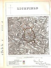 Lichfield. Staffordshire. límite comisarios antiguo informe .1868.Map.
