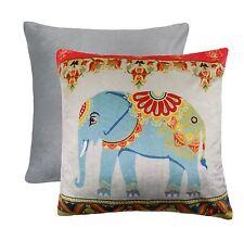 "2 X ELEPHANT FLORAL FLOWER SOFT VELVET SILVER RED BLUE CUSHION COVERS 17"" - 43CM"