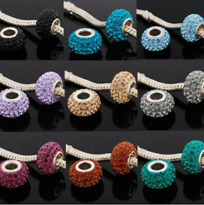 Rhinestone Crystal Swarovski European Charm Beads Silver Plated Pick Color New