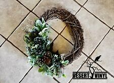 Peony and pinecone grapevine wreath.front door wreath. Green wreath for door