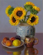 Original oil painting still life realism sunflower fruit 14x18 in canvas, Y Wang