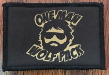 One Man Wolf Pack Morale Patch Tactical ARMY Hook Military Flag USA Badge