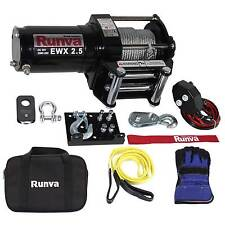 Runva 2500 Lbs Electric 12V ATV/ UTV Power Tow Winch Master Recovery Kit