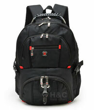 "Men's Travel 15"" Laptop Backpack Shoulder Bag Swiss Hiking School Bag Black"