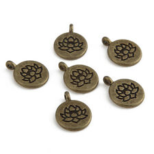 Tibetan Silver Lotus Charms Beads Pendant Fit DIY Necklace/Bracelet 15*15mm
