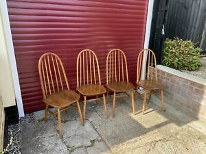 Ercol Style Windsor Quaker Elm  Beech Dining Set 4 Chairs No Labels Buy Only £80