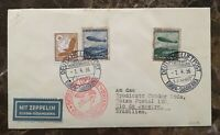 LZ-129 HINDENBURG 1ST FLIGHT GERMAN TO S. AMERICA MAR.31-APR.4 COVER SIEGER 403A