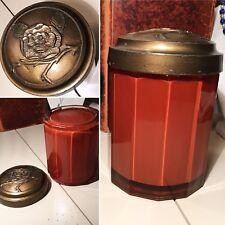 Antique Orange Glass Humidor Tobacco Jar Heavy Floral Embossed Metal Top