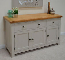Grey Stone Painted Oak Large Sideboard 3 Door Storage Cupboard / New Swainswick