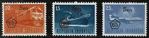 Indonesia 1966 Transport and Traffic - Overprinted - Set Of Three Stamps - MUH
