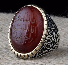 Turkish Handmade 925 st. silver İslamic Agate Aqeeq  Mens Ring Sz 11 us Free Rsz