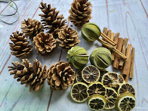 Christmas Holly Ring Wreath Decoration Kit Eco Dried whole limes, Cones sticks