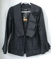 Dianaira Women's Size 0 Black Silk NWT Two Collar Lined Jacket Career Work flaw