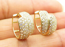 14K Gold - White Cubic Zirconia Bypass Small Hoop Earrings 3.4g