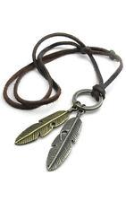 collar joyeria hombres mujeres, colgante pluma angel con cadena cuero P5V4