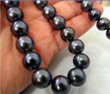 NATURAL 10-11MM TAHITIAN AAA+ BLACK PEARL NECKLACE 18 Inch 14K Gold Clasp