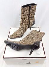 Coach Boots Mid-Calf Brown Tan Zip Up Jeri Mini Logo P358 Womens Size 6 Medium B