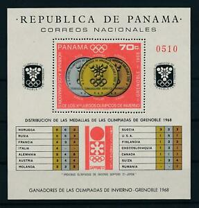 [103608] Panama 1968 Olympic Winter Games Grenoble medals Souvenir Sheet MNH