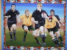 Running Rugby Union Players Football PANEL Balls Boots Fabric Patchwork Quilting