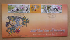2016 FIJI YEAR OF THE MONKEY STRIP OF 4 STAMPS FIRST DAY COVER FDC