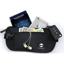 Black Travel Money Belt Pouch Passport Wallet