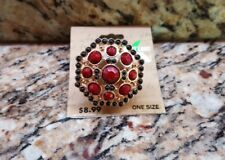 Fashion Ring Dream out Loud Selena Gomez Gold in color w/ Red & Black Stones NEW