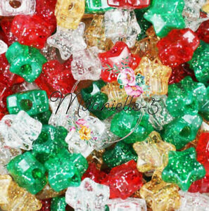 3 For 2 X50 CHRISTMAS SPARKLE  STAR MIX 13mm PONY BEADS