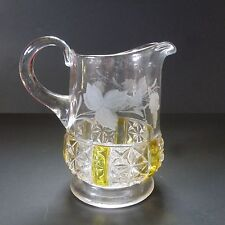 Vintage FINDLAY 1900's Handled Etched 3 Part Mold Clear & Yellow Glass Pitcher