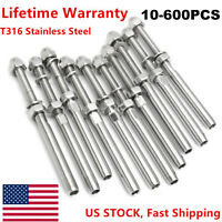 """Stainless Steel T316 Swage Threaded Tensioner End Fittings 1/8"""" Cable Railing S+"""