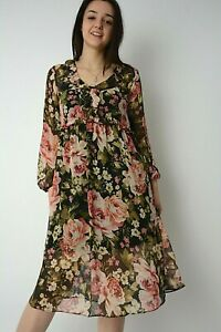 New Black+Pink Rose Print Chiffon Frill Trim Midi Dress+Vest Underlay Size 6-12
