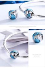 Charm Viaggio Intorno al Mondo  Silver 925 Smalto Blu e Zirconi Idea Regalo
