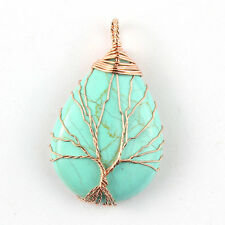 Rose Gold Wire Wrapped Tree of Life Turquoise Teardrop Stone Chakra Pendant