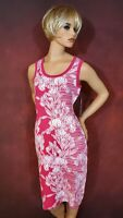 Women's Dress M Sleeveless Knit Pink & White Floral Casual Work Clothes