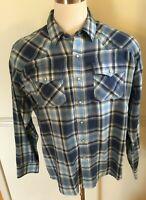 10031851 Ariat Men/'s Quadman Retro Fit Long Sleeve Blue Plaid Western Shirt NEW