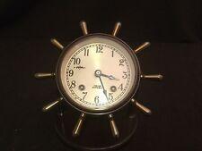 Bronze Chelsea Ship'S Bells Mariner Yacht Clock Stand Hinged Door Working Order