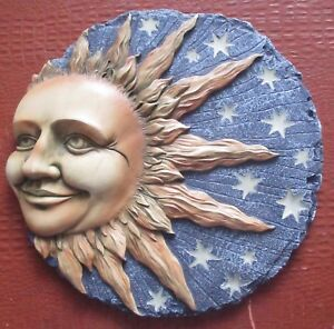 SUN & STARS 3 D CELESTIAL GLOWING STEPPING STONE/ WALL HANGING