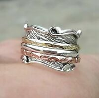 Solid 925 Sterling Silver Band & Silver Spinner Ring Handmade Jewelry