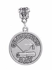 Graduation Day Graduate Gift Diploma Cap Dangle Charm for European Bracelets