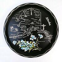 "Alaska State Souvenir Tray Round 11"" Metal Vintage"