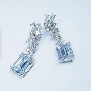 Princess, Baguette & Round Cut 27.69CT Cubic Zirconia Gorgeous Wedding Earrings