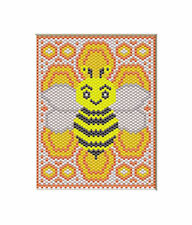Bumble Bee And Honeycomb~Large Pony Bead Banner Pdf Pattern Only